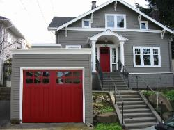 Swing out Carriage Door.  Choose the opening style for your Seattle garage door that meets your garage door requirements:  Roll-up in sections, Swing-out, Swing-in, Slide, or Fold for your Seattle garage door.