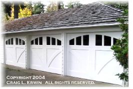 Copyrighted custom garage door.  Choose the opening style that meets your custom garage door requirements:  Roll-up in sections, Swing-out, Swing-in, Slide, or Fold for your custom garage door carriage house garage door.